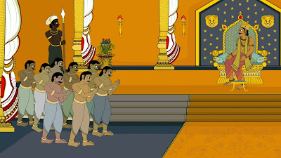 WHAT ARE THESE EIGHT MEN ASKING OF THE CHOLA KING?
