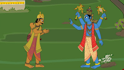 WHAT SOLUTION DOES LORD VISHNU PROPOSE TO THE WORRIED KING?
